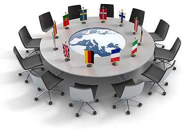table with flags