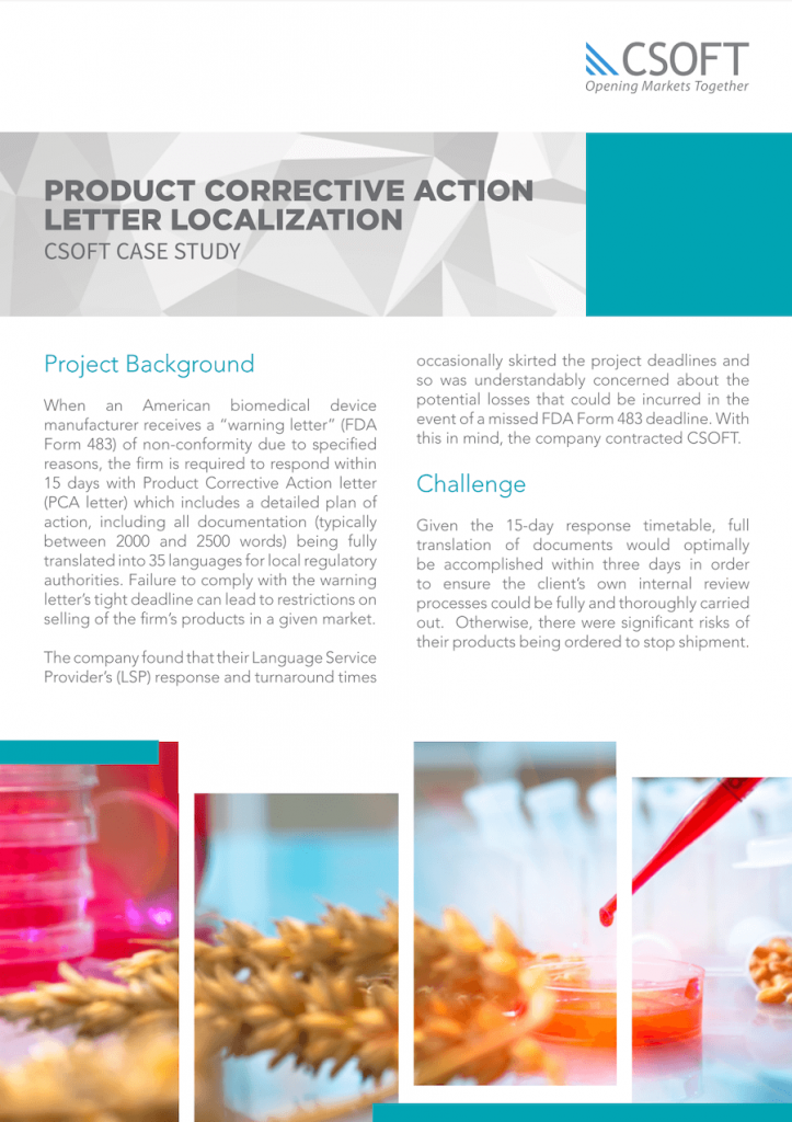 product correction action letter localization case study